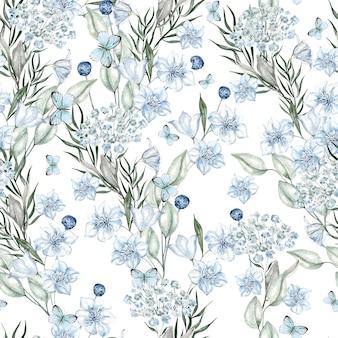 Motif de fleurs bleu clair aquarelle sur fond blanc