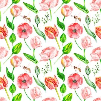 Motif de fleurs et de feuilles aquarelles