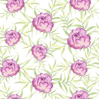 Motif floral aquarelle, fleurs délicates, fleurs jaunes, bleues et roses,