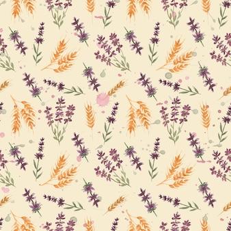 Motif floral aquarelle de fleurs sauvages avec des fleurs de lavande et du blé
