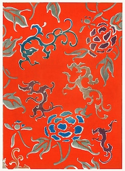 Motif floral de bijutsu sekai (1893-1896) de watanabe seitei, un artiste kacho-ga de premier plan. chiffre