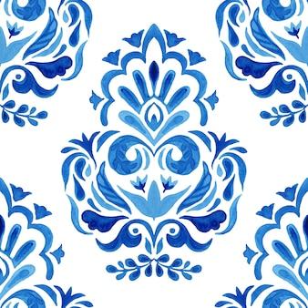 Motif floral dessiné main aquarelle damassé bleu. modèle sans couture, ornement de carrelage.
