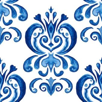 Motif floral dessiné main damassé bleu. abstrait motif de peinture aquarelle ornementale transparente pour tissu