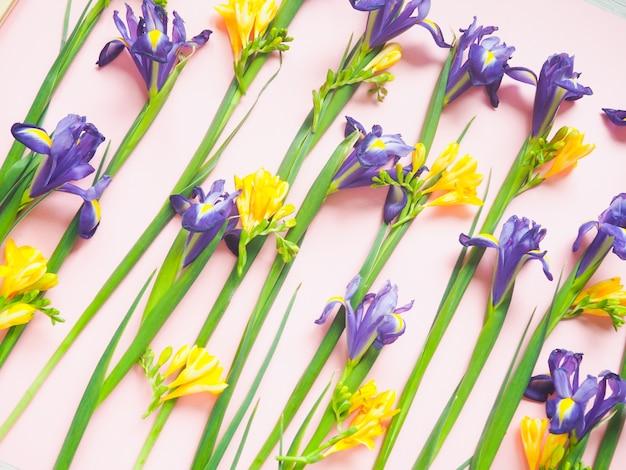 Motif floral de fleurs jaunes, sur un fond rose, motif fleurs