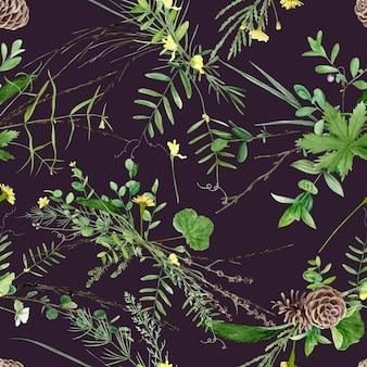 Motif floral sans couture avec des plantes et des fleurs de la forêt à l'aquarelle, fond naturel de peinture artistique.