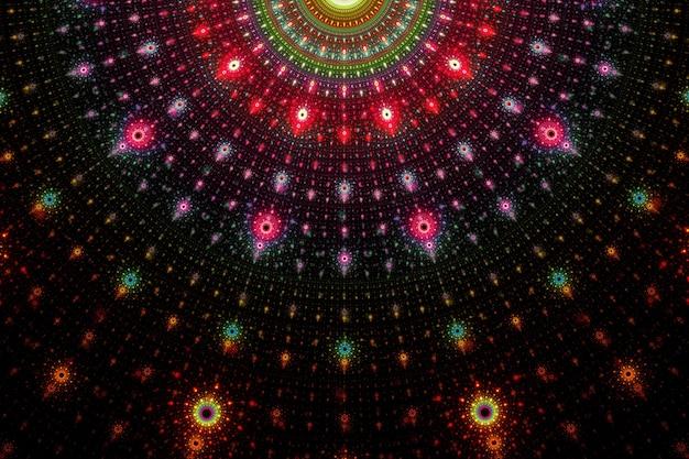Motif de fond abstrait art fractal sur fond sombre.