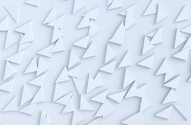 Motif de fond blanc avec motif de triangles extrudés réguliers sur le mur