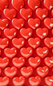 Motif de fond de coeurs de saint valentin. mise à plat de couleur rouge audacieux. carte de voeux de célébration de l'amour, affiche, modèle de bannière pour la fête