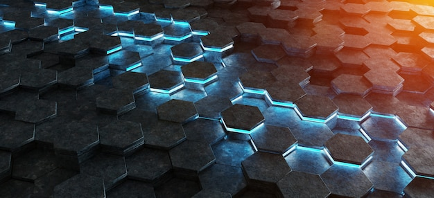 Motif de fond hexagones noir bleu et orange rendu 3d