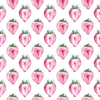 Motif fraise avec fond blanc. illustration d'été aquarelle. baies en forme de coeur.