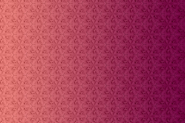 Motif de géométrie en trois dimensions avec des fleurs à six pointes