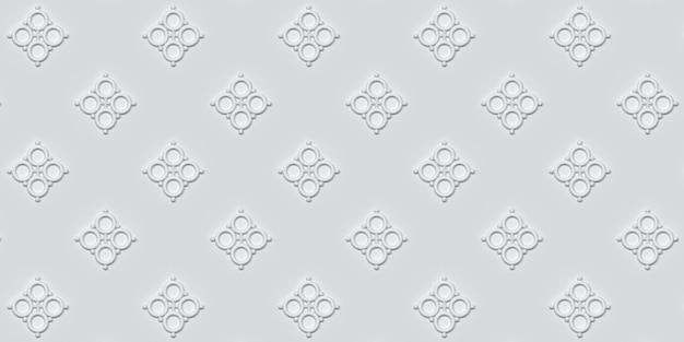 Motif géométrique blanc sur fond blanc illustration 3d