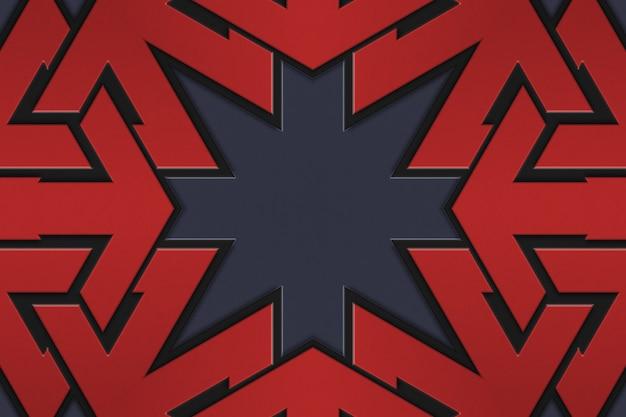 Motif géométrique de couleur rouge, style celtique scandinave. illustration d'un motif de fond abstrait tissé. éléments d'un motif géométrique sur fond sombre