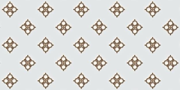 Motif géométrique doré sur fond blanc illustration 3d