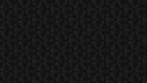 Motif géométrique sombre en trois dimensions avec des fleurs à six pointes