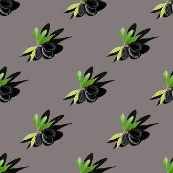 Motif gouache symétrique de branche d'olivier avec ombre sur gris. mise à plat. notion minimale. texture alimentaire isométrique minimale. illustration botanique peinte à la main.