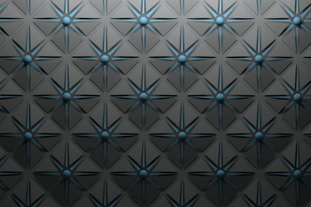 Motif gris noir de carbone avec des formes pyramidales répétitives et des étoiles et des sphères bleu foncé