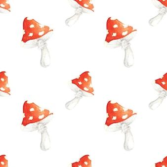 Motif harmonieux d'aquarelle avec amanite dessinée à la main l'agaric de mouche rouge sur fond blanc est parfait pour la fabrication de cartes d'invitations à des fêtes papeterie étiquettes de fête blog design logos scrapbooking numérique