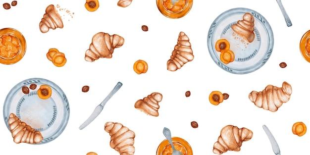 Motif harmonieux d'aquarelle avec illustration des ingrédients traditionnels du petit-déjeuner pour le déjeuner
