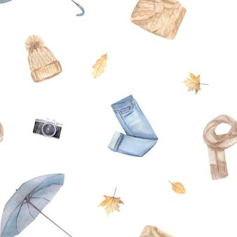 Motif harmonieux d'automne à l'aquarelle avec des symboles confortables peints à la main de la saison d'automne.