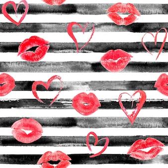 Motif harmonieux dessiné à la main à l'aquarelle avec des rayures noires, des coeurs rouges et des baisers de lèvres. fond aquarelle blanc et noir.