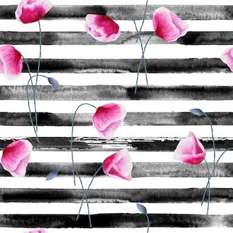 Motif harmonieux dessiné à la main à l'aquarelle avec des rayures noires et des fleurs de pavot. fond aquarelle blanc et noir.