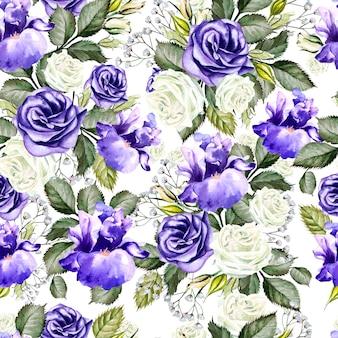 Motif harmonieux de fleurs aquarelles lumineuses avec roses, iris et anémones. illustration