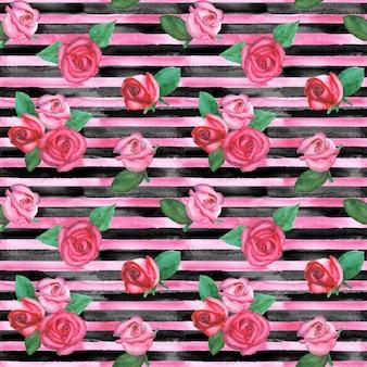 Motif harmonieux horizontal dessiné à la main à l'aquarelle avec des rayures roses et noires et des roses rouges et roses. texture de mode de roses rayées à l'aquarelle.
