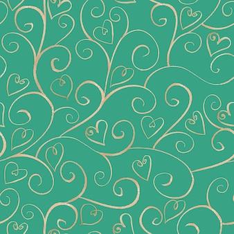Motif harmonieux de ligne ornementale en argent dessiné à la main à l'aquarelle avec des coeurs sur une surface turquoise