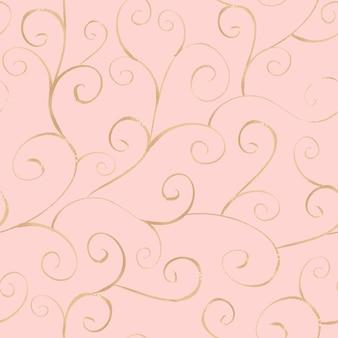 Motif harmonieux de ligne ornementale or dessiné à la main à l'aquarelle sur une surface rose clair
