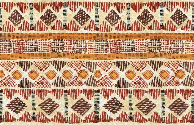 Motif horizontal sans couture ethnique sur fond aquarelle grunge avec rayures de formes géométriques