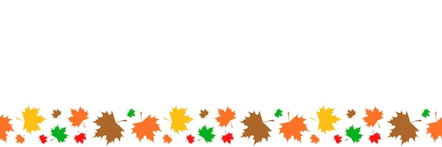 Motif horizontal sans couture de feuilles d'érable colorées sur fond blanc.