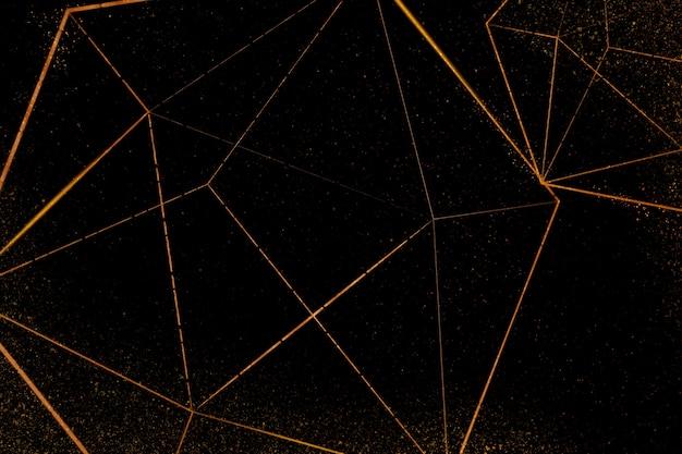 Motif d'icosaèdre cuivre sur fond noir