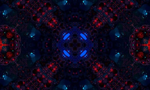 Motif kaléidoscope bleu foncé et rouge. belle conception d'illustration de texture de mandala. fond abstrait kaléidoscope