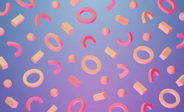 Motif de memphis de fond 3d dans le style des années 80 avec des formes géométriques roses