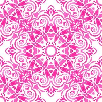 Motif ornemental sans soudure de carreaux de médaillon rose et blanc abstrait. modèle de soleil de tuile aquarelle avec résumé de fleur.
