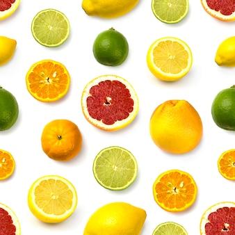 Motif pamplemousse, citron vert, citron et mandarine sur blanc