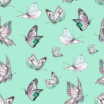 Motif de papillons aquarelles sur fond vert