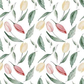 Motif de pâques de printemps tulipe avec fleurs rouges et jaunes et magnolia