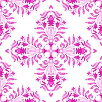 Motif de peinture aquarelle ornementale transparente tuile dessiné main rose et blanc abstrait.