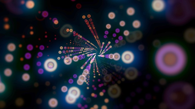 Motif de points colorés de mouvement, abstrait. style néon dynamique élégant, illustration 3d