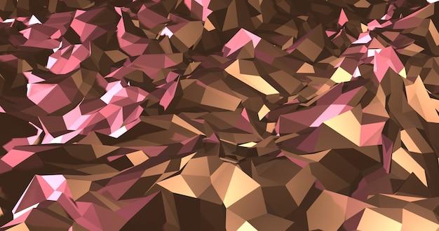 Motif polygonal abstrait or et rose. rendu 3d