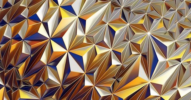 Motif polygonal low poly. résumé de fond brillant irisé avec copie espace 3d render illustration