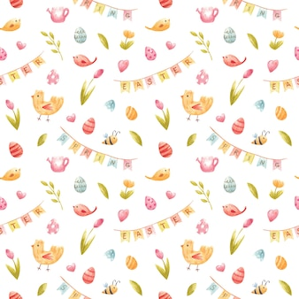 Motif de printemps harmonieux à l'aquarelle illustration pour pâques avec des oeufs colorés de tulipes d'abeilles arrosoir drapeaux de fête d'oiseau coeurs pour l'invintation de fête enfants décor design textile