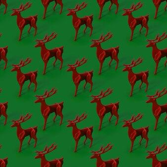 Motif de renne construit avec découpe rouge, sur vert