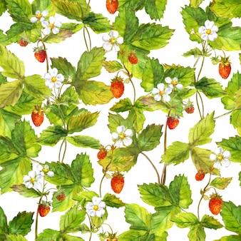 Motif répété sans couture avec champ de fraise des forêts sauvages