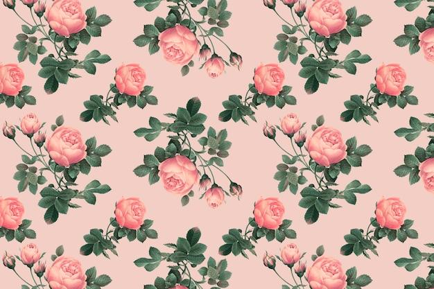 Motif rose anglais rose sur un fond rose crêpe