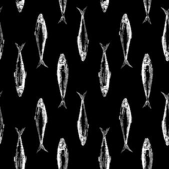 Motif sardine sur fond noir