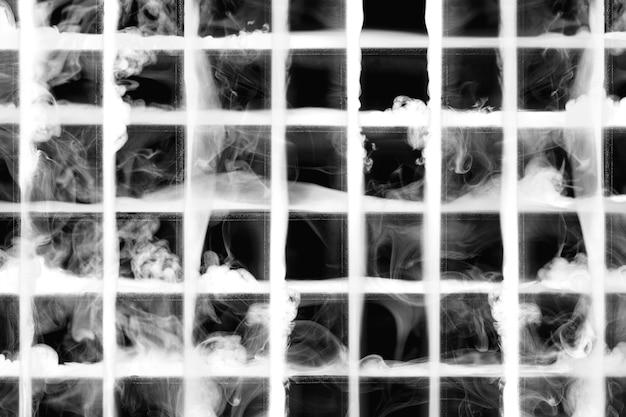 Motif sombre abstrait, avec grille blanche de texture fumée