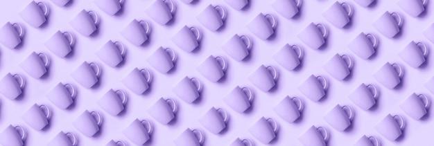 Motif de tasses sur fond de couleur violette tendance.